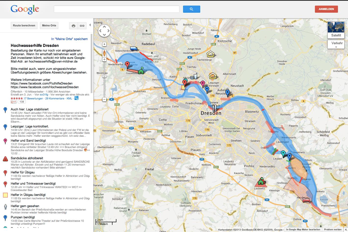 Google Maps Status Fluthilfe Dresden