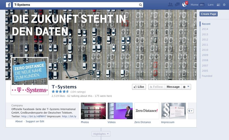 Paradebeispiel: Facebook-Fanpage von T-Systems